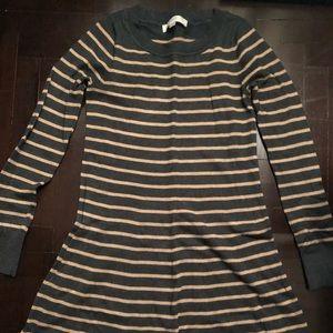 New LOFT striped sweater dress grey taupe XXS